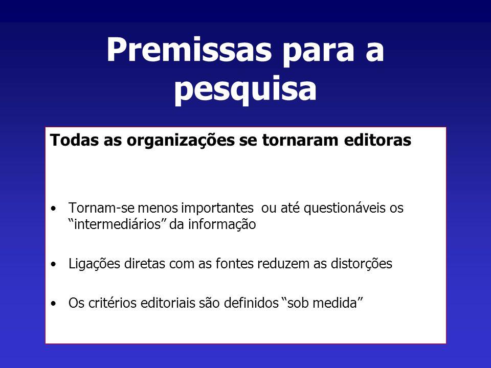 Premissas para a pesquisa Todas as organizações se tornaram editoras Tornam-se menos importantes ou até questionáveis os intermediários da informação Ligações diretas com as fontes reduzem as distorções Os critérios editoriais são definidos sob medida