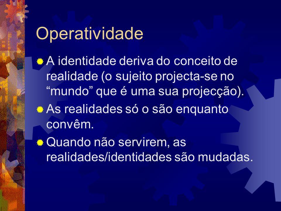 """Operatividade  A identidade deriva do conceito de realidade (o sujeito projecta-se no """"mundo"""" que é uma sua projecção).  As realidades só o são enqu"""