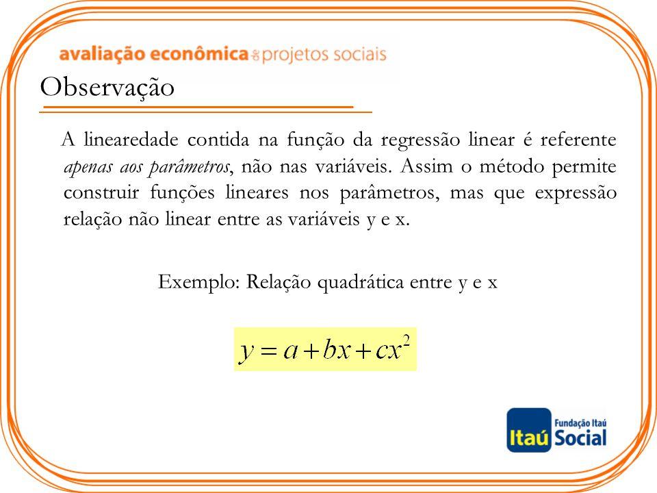 Observação A linearedade contida na função da regressão linear é referente apenas aos parâmetros, não nas variáveis. Assim o método permite construir