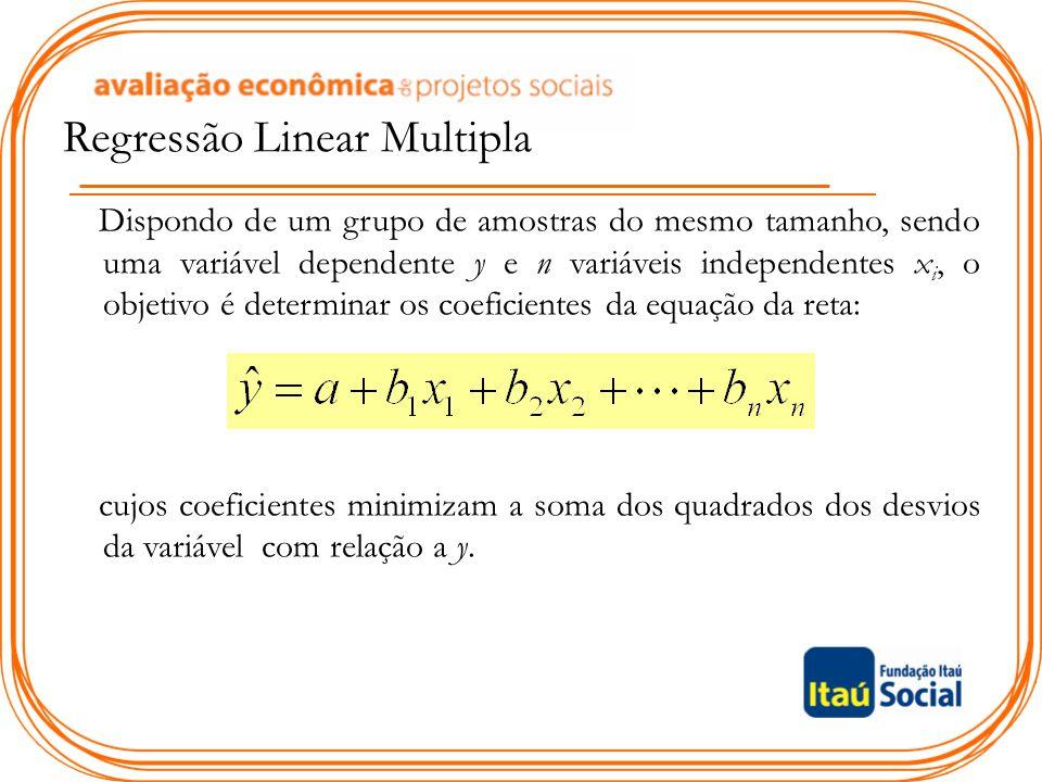 Dispondo de um grupo de amostras do mesmo tamanho, sendo uma variável dependente y e n variáveis independentes x i, o objetivo é determinar os coefici
