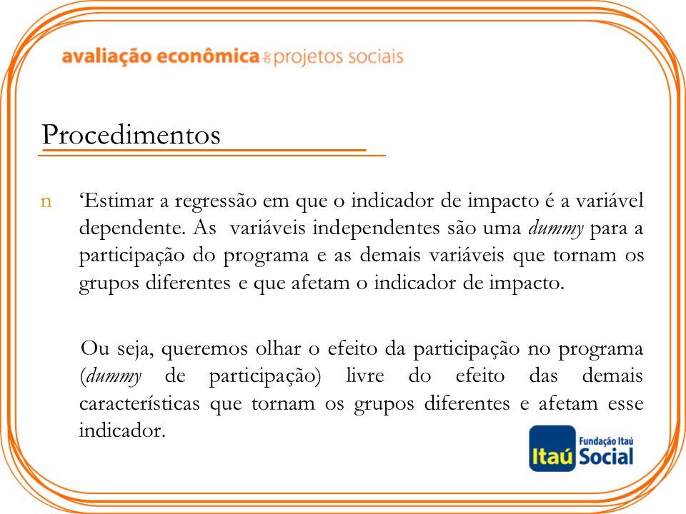 Procedimentos n'Estimar a regressão em que o indicador de impacto é a variável dependente. As variáveis independentes são uma dummy para a participaçã