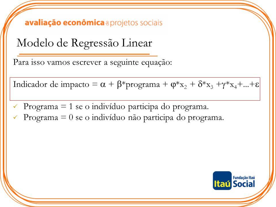 Modelo de Regressão Linear Para isso vamos escrever a seguinte equação: Indicador de impacto =  +  *programa +  *x 2 +  *x 3 +  *x 4 +...+  Prog