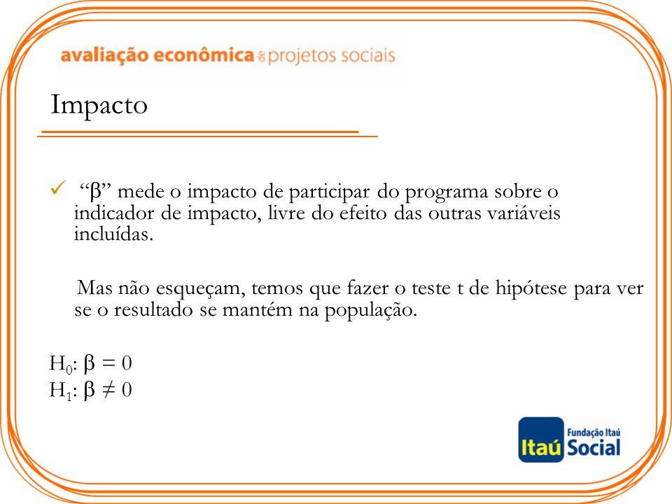 """Impacto """"  """" mede o impacto de participar do programa sobre o indicador de impacto, livre do efeito das outras variáveis incluídas. Mas não esqueçam,"""