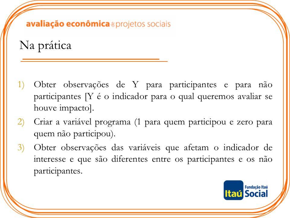 Na prática 1)Obter observações de Y para participantes e para não participantes [Y é o indicador para o qual queremos avaliar se houve impacto]. 2)Cri