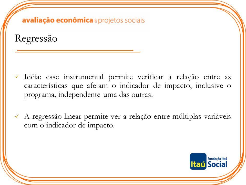 Regressão Idéia: esse instrumental permite verificar a relação entre as características que afetam o indicador de impacto, inclusive o programa, indep