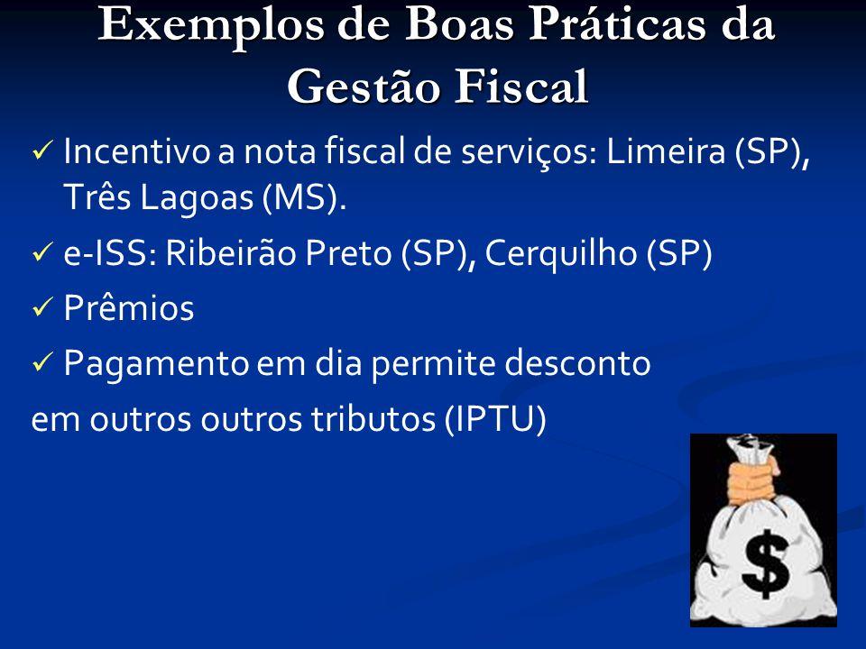 Exemplos de Boas Práticas da Gestão Fiscal Incentivo a nota fiscal de serviços: Limeira (SP), Três Lagoas (MS).