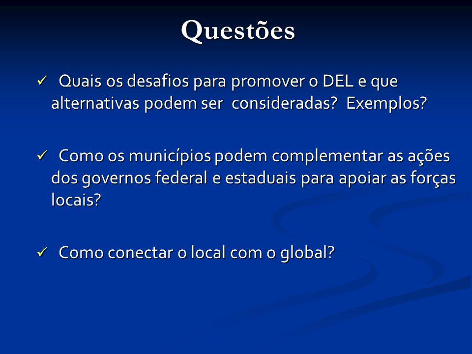 Questões Quais os desafios para promover o DEL e que alternativas podem ser consideradas.