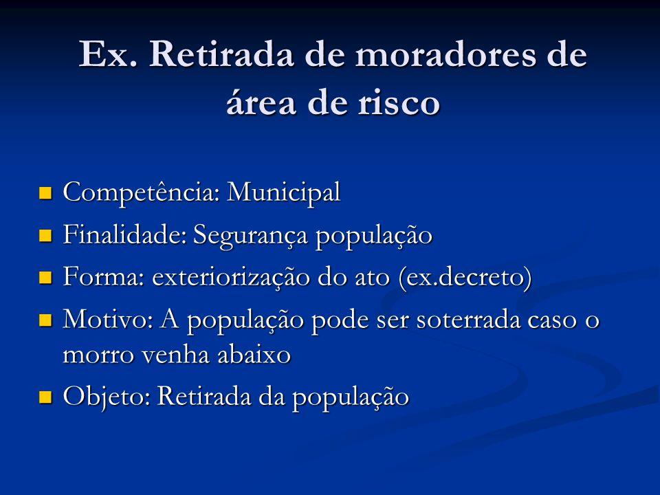 Ex. Retirada de moradores de área de risco Competência: Municipal Competência: Municipal Finalidade: Segurança população Finalidade: Segurança populaç