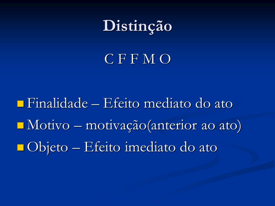 Distinção C F F M O Finalidade – Efeito mediato do ato Finalidade – Efeito mediato do ato Motivo – motivação(anterior ao ato) Motivo – motivação(anter
