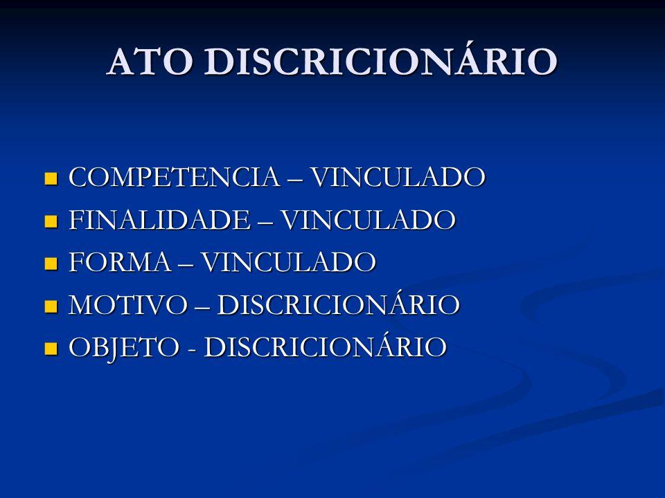 ATO DISCRICIONÁRIO COMPETENCIA – VINCULADO COMPETENCIA – VINCULADO FINALIDADE – VINCULADO FINALIDADE – VINCULADO FORMA – VINCULADO FORMA – VINCULADO M