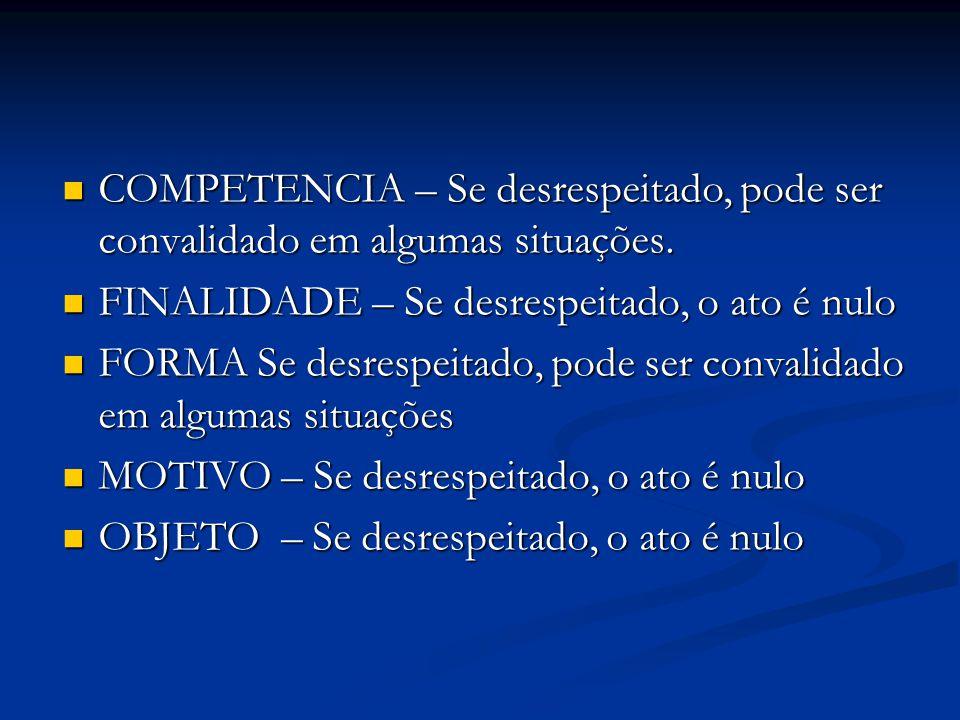 COMPETENCIA – Se desrespeitado, pode ser convalidado em algumas situações. COMPETENCIA – Se desrespeitado, pode ser convalidado em algumas situações.