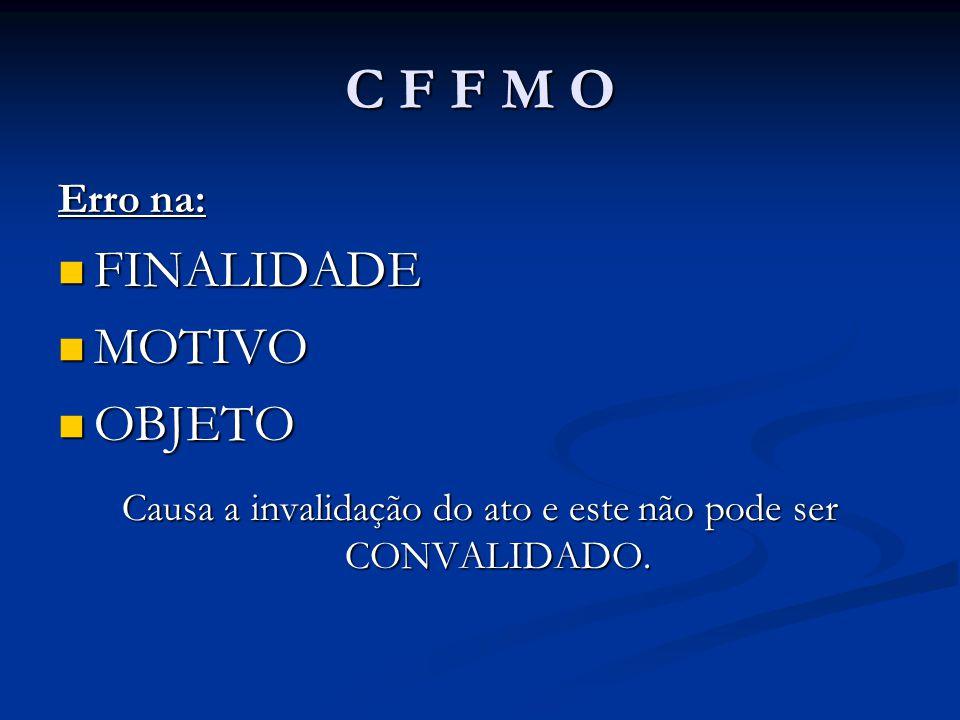 C F F M O Erro na: FINALIDADE FINALIDADE MOTIVO MOTIVO OBJETO OBJETO Causa a invalidação do ato e este não pode ser CONVALIDADO.
