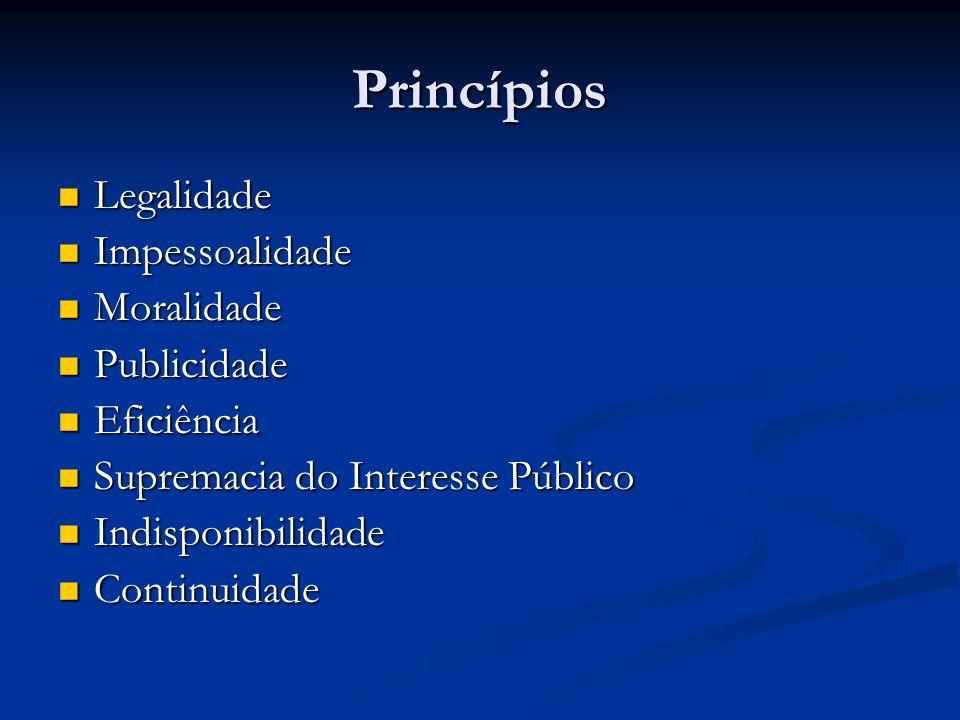 Princípios Legalidade Legalidade Impessoalidade Impessoalidade Moralidade Moralidade Publicidade Publicidade Eficiência Eficiência Supremacia do Inter