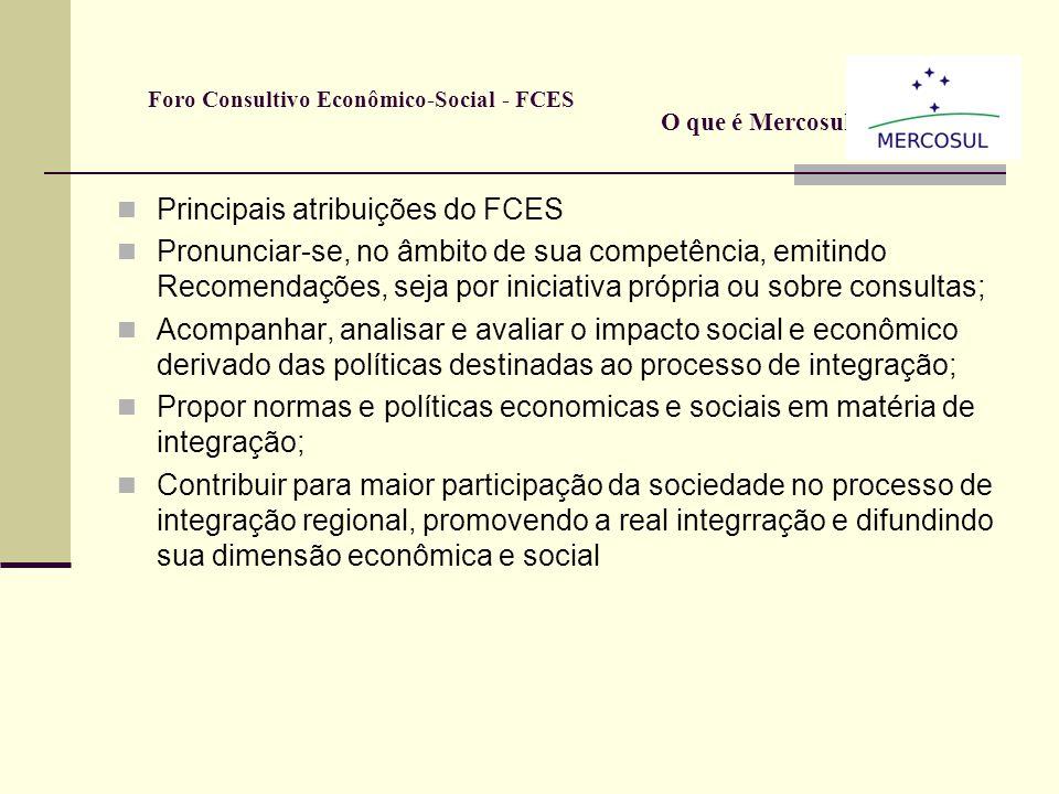Foro Consultivo Econômico-Social - FCES O que é: Orgão de representação no Mercosul dos setores econômicos e sociais; O Foro é uma instância consultiv
