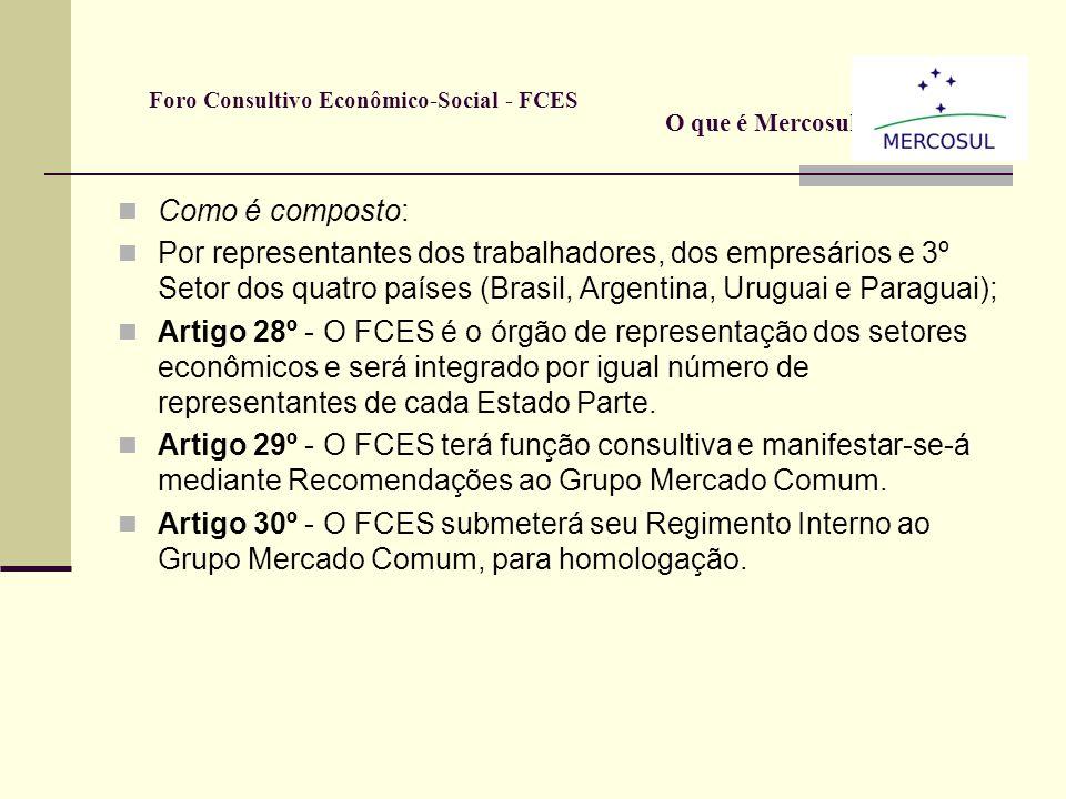 Foro Consultivo Econômico-Social - FCES Principais atribuições do FCES Pronunciar-se, no âmbito de sua competência, emitindo Recomendações, seja por i