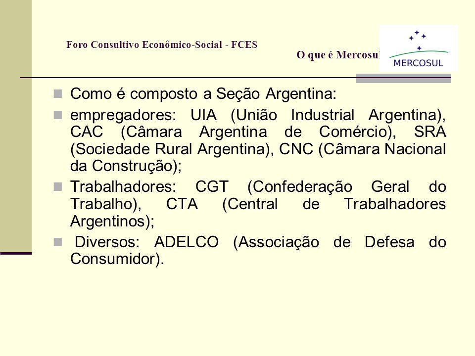 Como é composto a Seção Brasileira: Pelos empresários: CNC (Confederação Nacional do Comércio); CNI (Confederação Nacional da Indústria); CNT (Confede