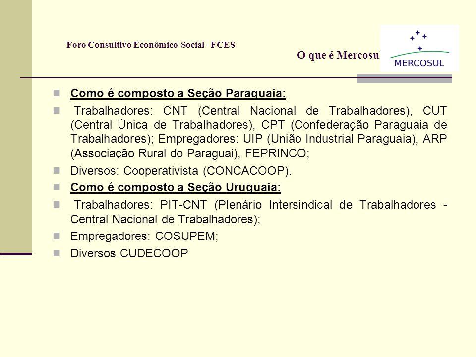 Como é composto a Seção Argentina: empregadores: UIA (União Industrial Argentina), CAC (Câmara Argentina de Comércio), SRA (Sociedade Rural Argentina)