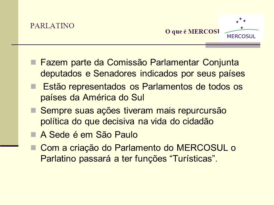 Parlamento do MERCOSUL Em fase de aprovação dentro dos países Prevê eleições diretas para o Parlamento A sede será no Uruguai no Antigo Cassino Os Dep