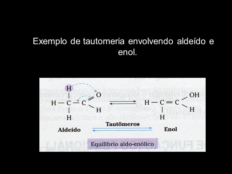 Exemplo de tautomeria envolvendo aldeído e enol.