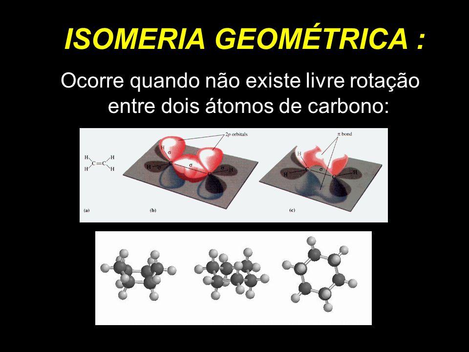 ISOMERIA GEOMÉTRICA : Ocorre quando não existe livre rotação entre dois átomos de carbono: