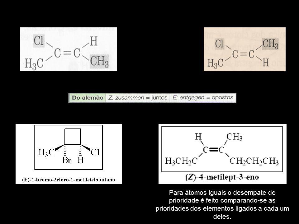 Para átomos iguais o desempate de prioridade é feito comparando-se as prioridades dos elementos ligados a cada um deles.