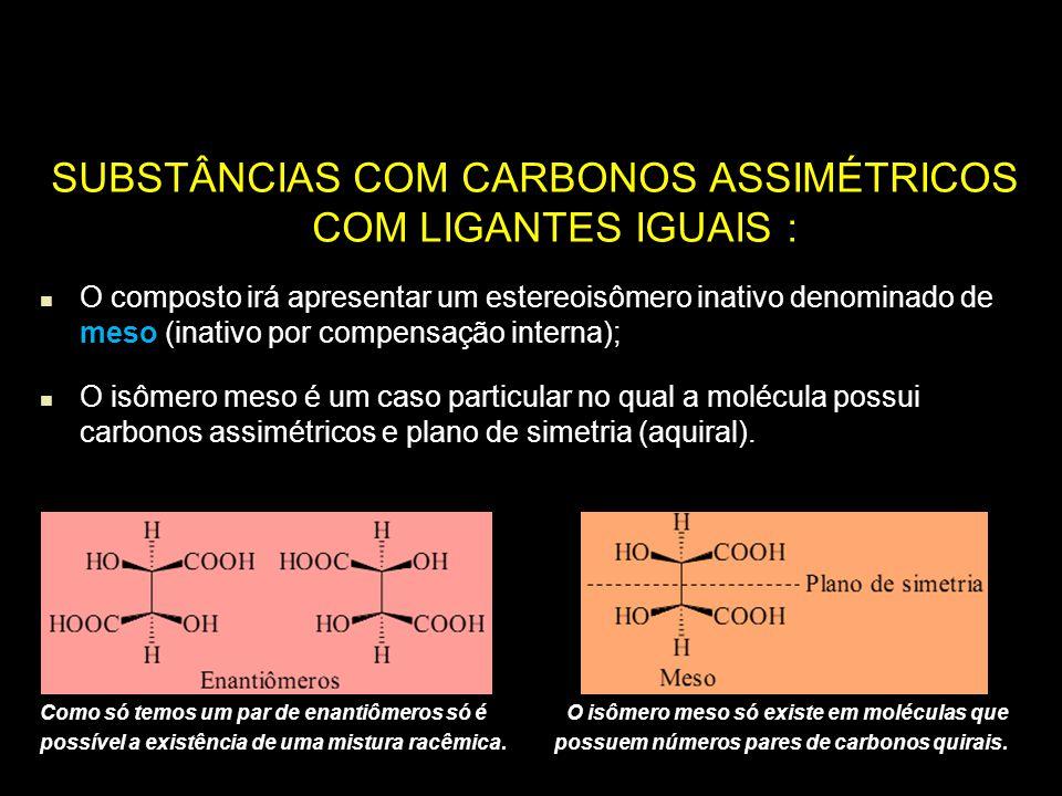 SUBSTÂNCIAS COM CARBONOS ASSIMÉTRICOS COM LIGANTES IGUAIS : O composto irá apresentar um estereoisômero inativo denominado de meso (inativo por compen