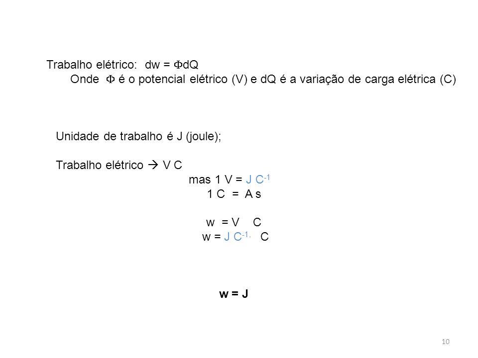 10 Trabalho elétrico: dw =  dQ Onde  é o potencial elétrico (V) e dQ é a variação de carga elétrica (C) Unidade de trabalho é J (joule); Trabalho el