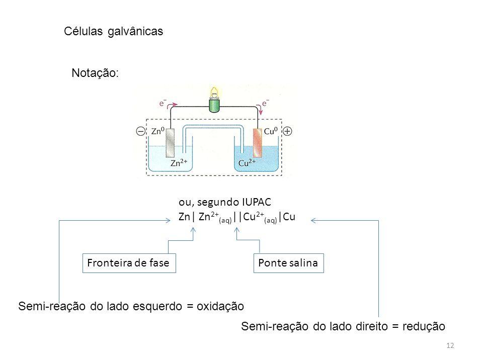 12 ou, segundo IUPAC Zn  Zn 2+ (aq)   Cu 2+ (aq)  Cu Fronteira de fasePonte salina Células galvânicas Notação: Semi-reação do lado esquerdo = oxidação