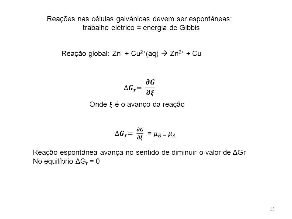 13 Reação global: Zn + Cu 2+ (aq)  Zn 2+ + Cu Reações nas células galvânicas devem ser espontâneas: trabalho elétrico = energia de Gibbis Onde  é o