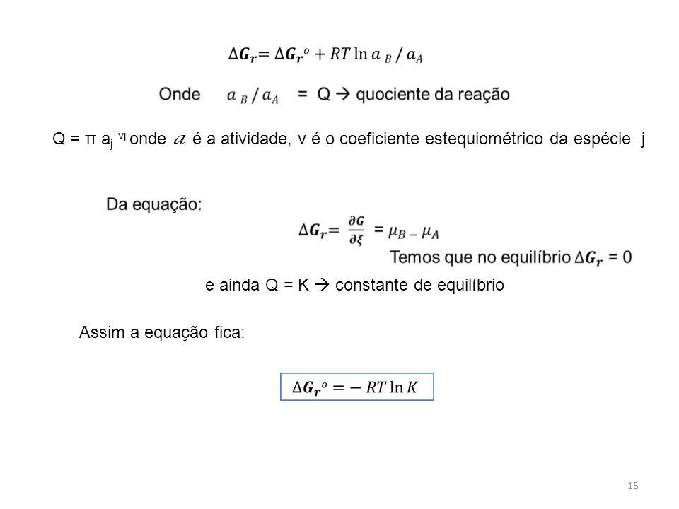 15 Q = π a j νj onde a é a atividade, v é o coeficiente estequiométrico da espécie j e ainda Q = K  constante de equilíbrio Assim a equação fica: