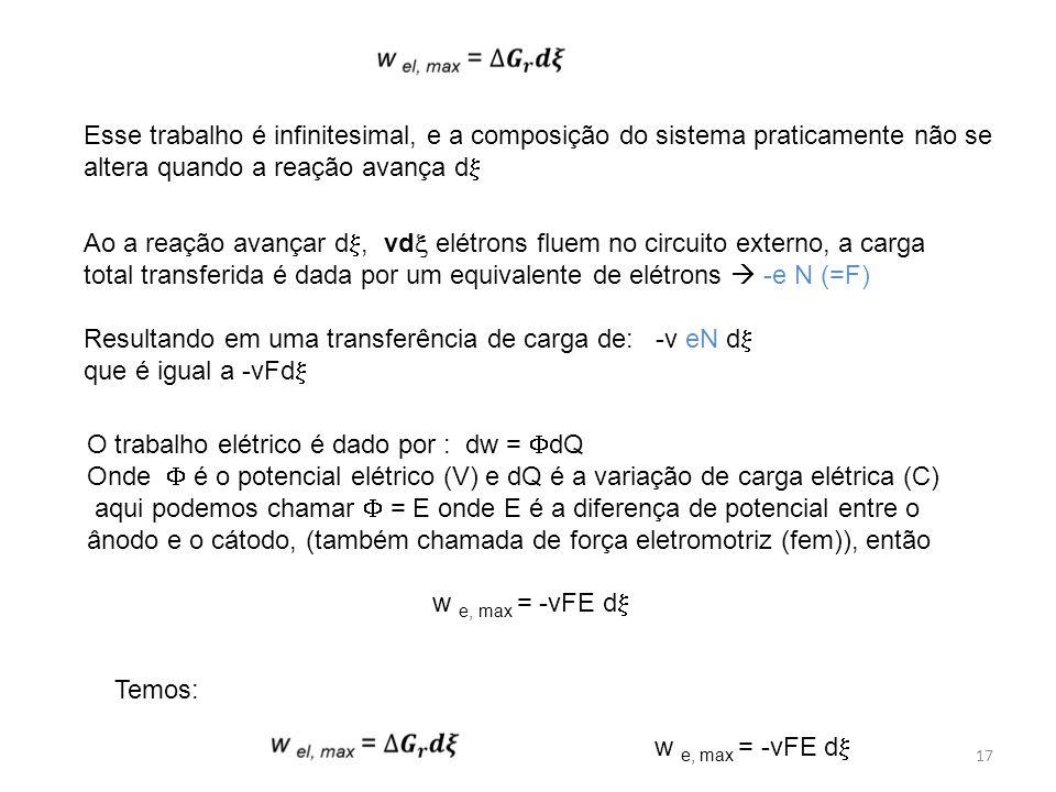 17 Esse trabalho é infinitesimal, e a composição do sistema praticamente não se altera quando a reação avança d  Ao a reação avançar d , vd  elétro