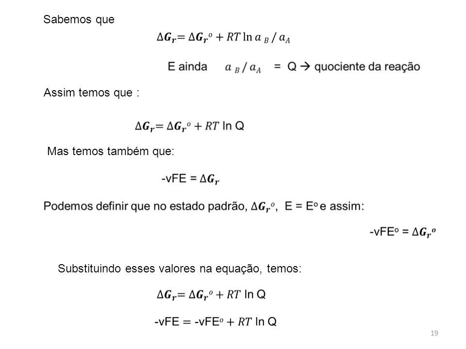 19 Sabemos que Assim temos que : Mas temos também que: Substituindo esses valores na equação, temos: