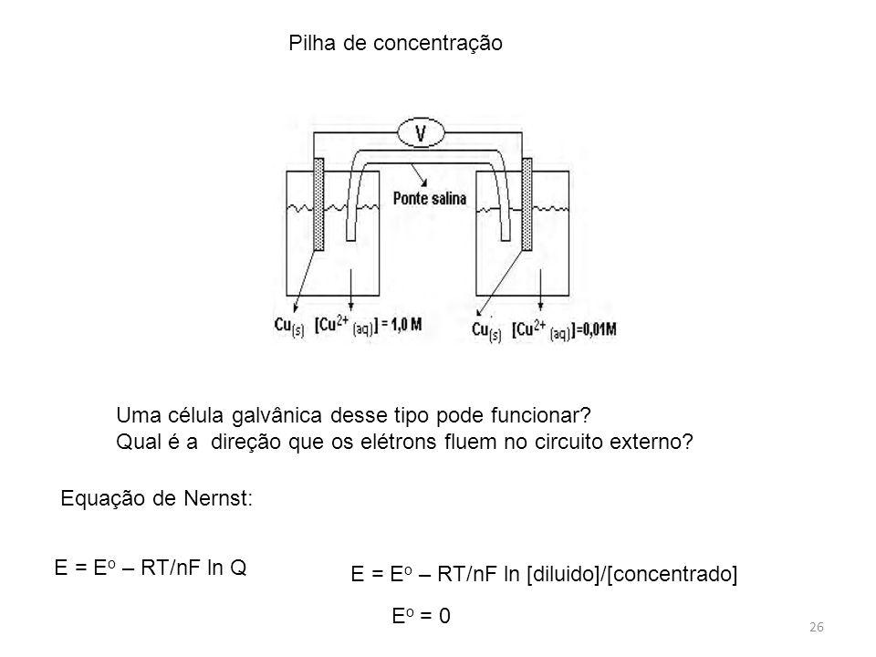26 Pilha de concentração Uma célula galvânica desse tipo pode funcionar? Qual é a direção que os elétrons fluem no circuito externo? Equação de Nernst