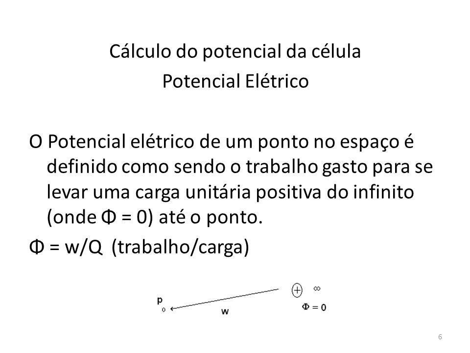 Cálculo do potencial da célula Potencial Elétrico O Potencial elétrico de um ponto no espaço é definido como sendo o trabalho gasto para se levar uma