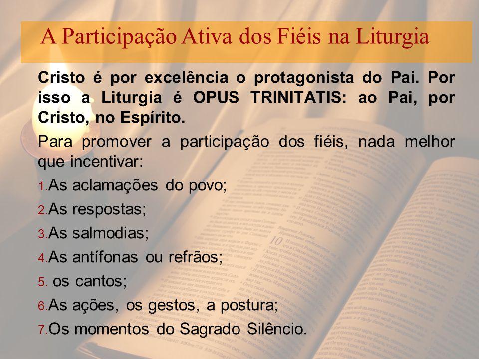 Cristo é por excelência o protagonista do Pai. Por isso a Liturgia é OPUS TRINITATIS: ao Pai, por Cristo, no Espírito. Para promover a participação do