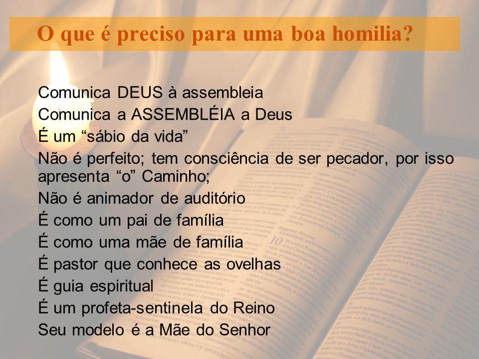 """O que é preciso para uma boa homilia? Comunica DEUS à assembleia Comunica a ASSEMBLÉIA a Deus É um """"sábio da vida"""" Não é perfeito; tem consciência de"""