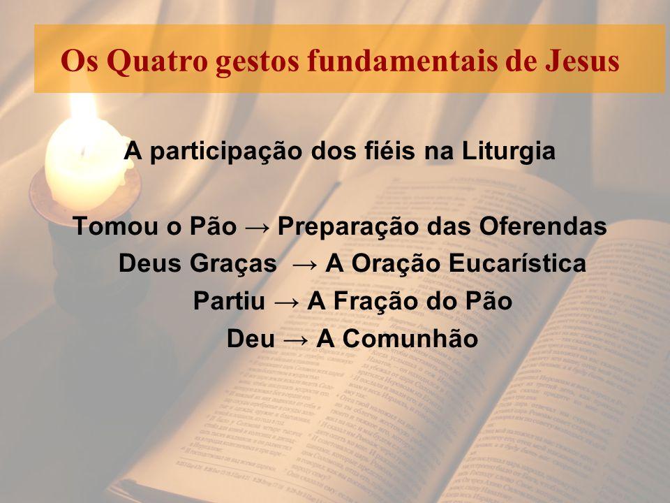 A participação dos fiéis na Liturgia Tomou o Pão → Preparação das Oferendas Deus Graças → A Oração Eucarística Partiu → A Fração do Pão Deu → A Comunh