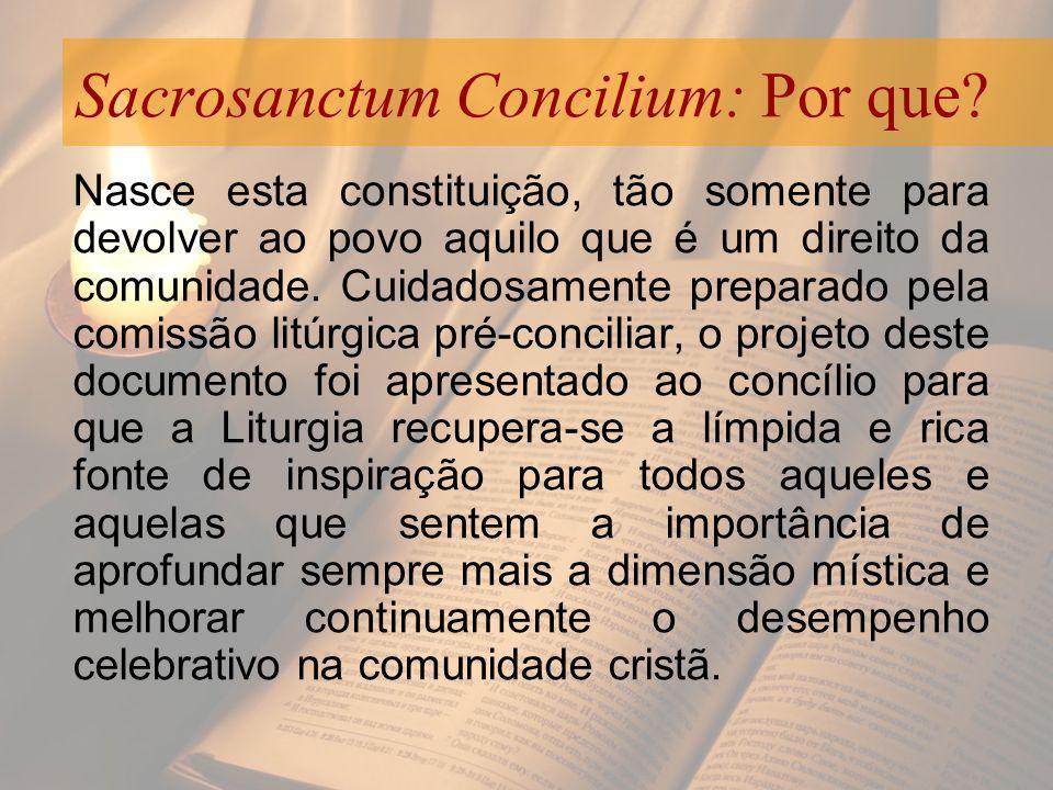 Sacrosanctum Concilium: Por que? Nasce esta constituição, tão somente para devolver ao povo aquilo que é um direito da comunidade. Cuidadosamente prep