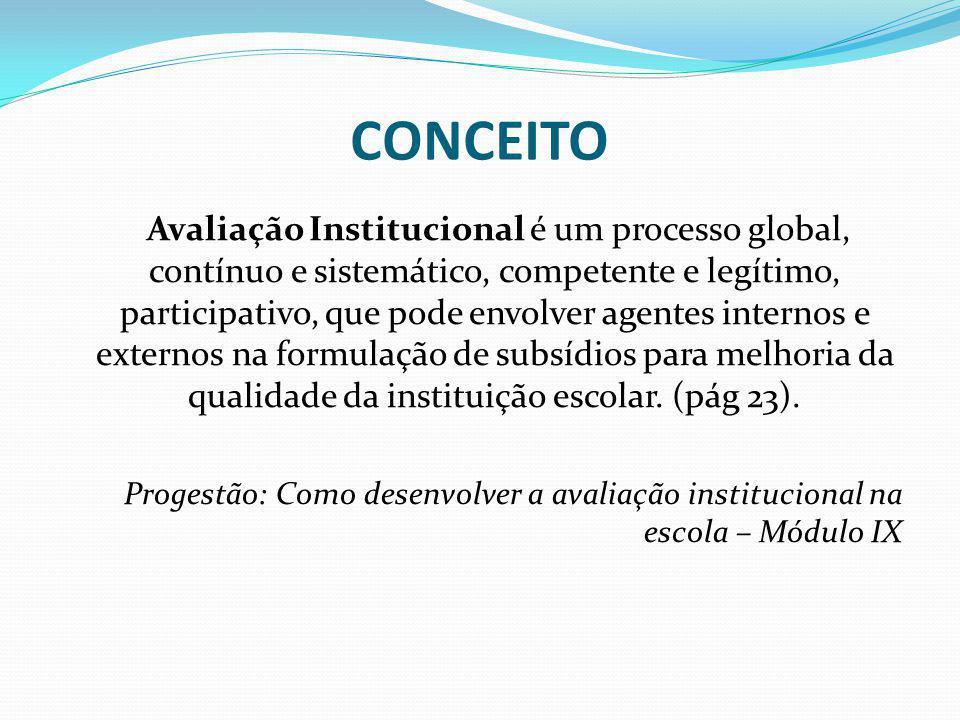 CONCEITO Avaliação Institucional é um processo global, contínuo e sistemático, competente e legítimo, participativo, que pode envolver agentes interno