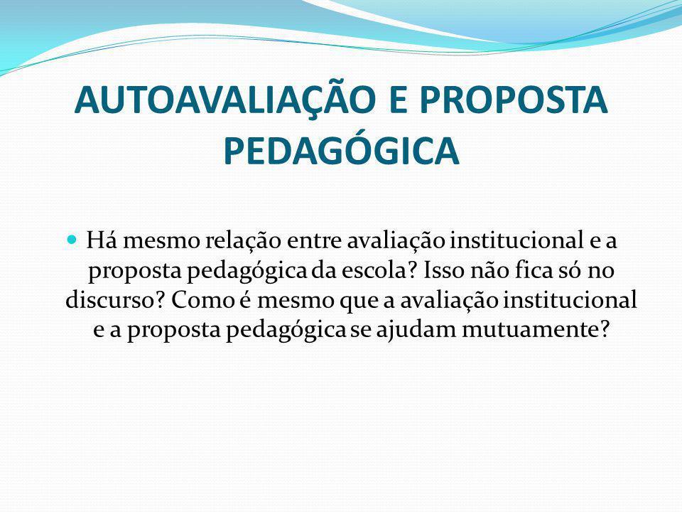 AUTOAVALIAÇÃO E PROPOSTA PEDAGÓGICA Há mesmo relação entre avaliação institucional e a proposta pedagógica da escola? Isso não fica só no discurso? Co