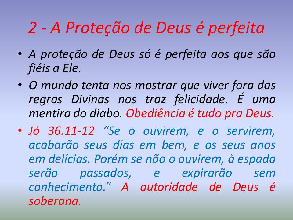 2 - A Proteção de Deus é perfeita A proteção de Deus só é perfeita aos que são fiéis a Ele. O mundo tenta nos mostrar que viver fora das regras Divina