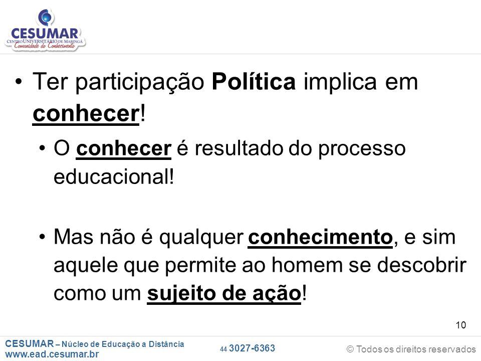 CESUMAR – Núcleo de Educação a Distância www.ead.cesumar.br © Todos os direitos reservados 44 3027-6363 10 Ter participação Política implica em conhec