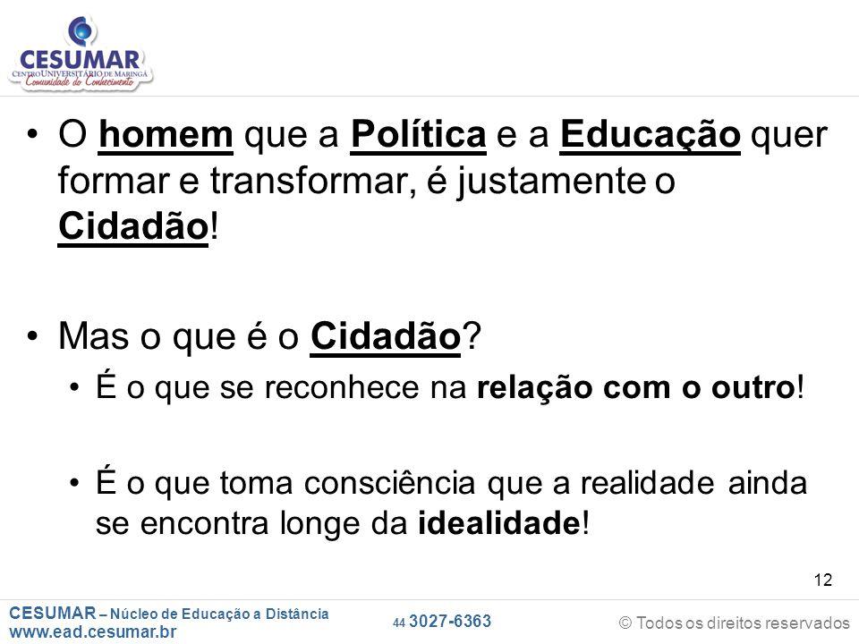 CESUMAR – Núcleo de Educação a Distância www.ead.cesumar.br © Todos os direitos reservados 44 3027-6363 12 O homem que a Política e a Educação quer fo