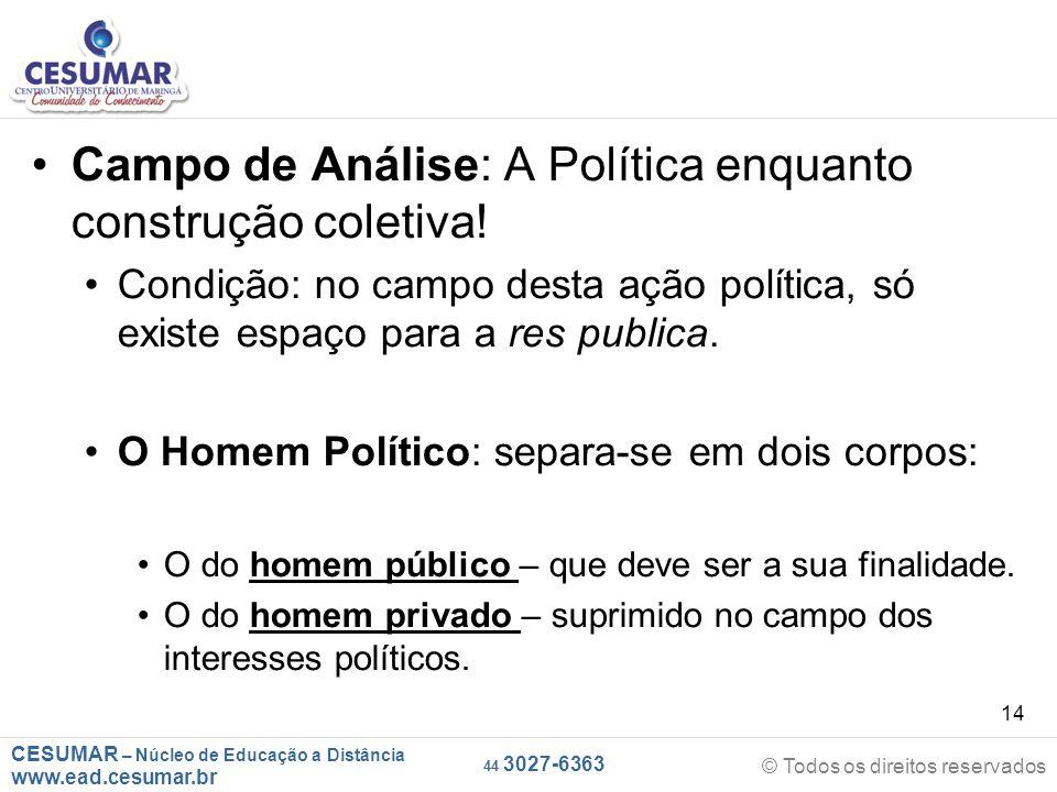 CESUMAR – Núcleo de Educação a Distância www.ead.cesumar.br © Todos os direitos reservados 44 3027-6363 14 Campo de Análise: A Política enquanto const
