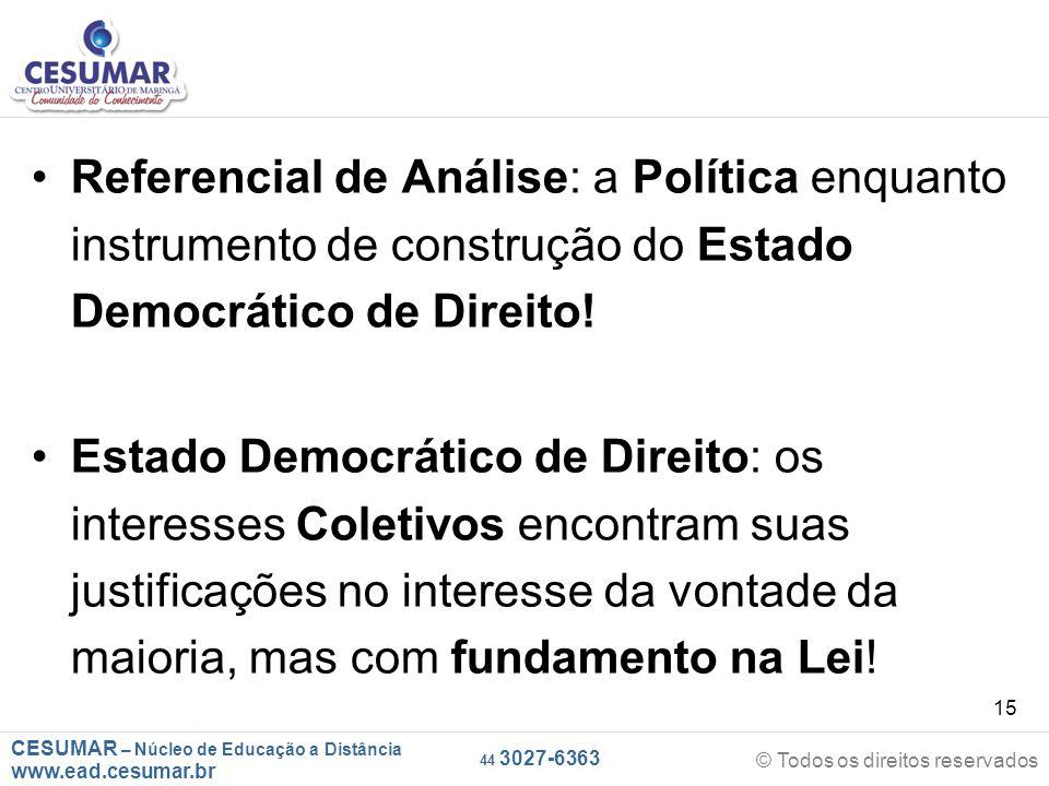 CESUMAR – Núcleo de Educação a Distância www.ead.cesumar.br © Todos os direitos reservados 44 3027-6363 15 Referencial de Análise: a Política enquanto