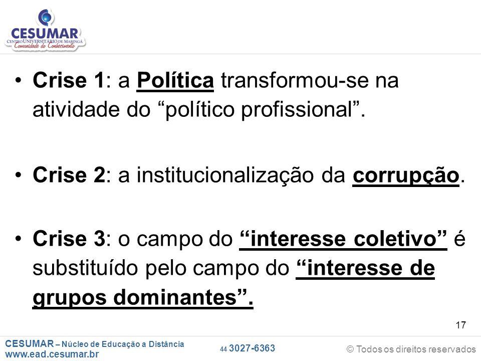 CESUMAR – Núcleo de Educação a Distância www.ead.cesumar.br © Todos os direitos reservados 44 3027-6363 17 Crise 1: a Política transformou-se na ativi