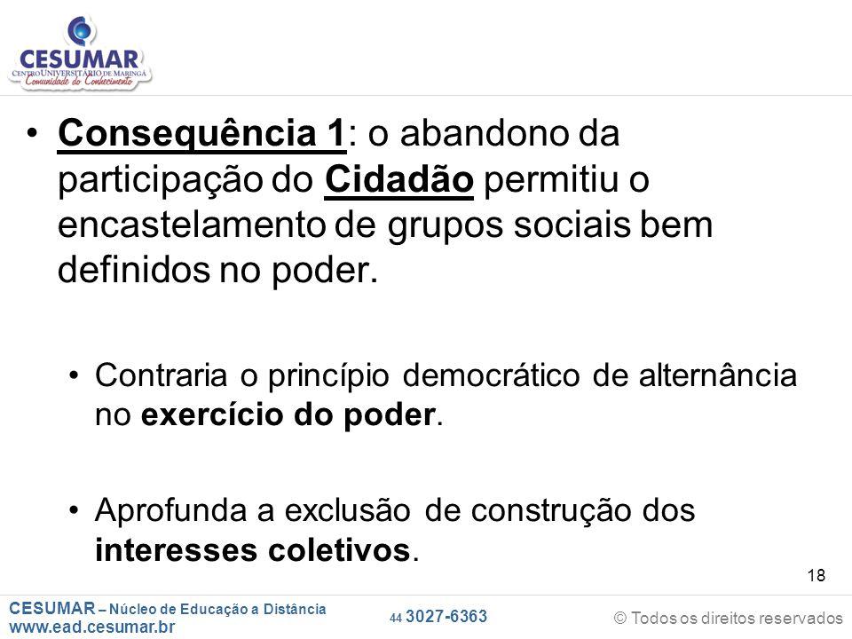 CESUMAR – Núcleo de Educação a Distância www.ead.cesumar.br © Todos os direitos reservados 44 3027-6363 18 Consequência 1: o abandono da participação