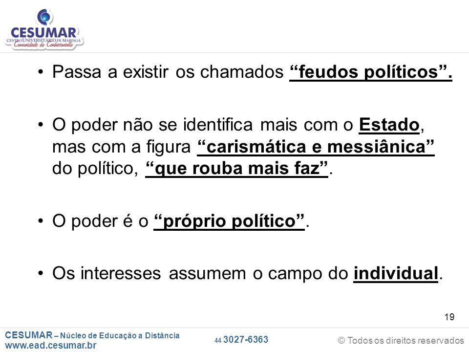 """CESUMAR – Núcleo de Educação a Distância www.ead.cesumar.br © Todos os direitos reservados 44 3027-6363 19 Passa a existir os chamados """"feudos polític"""
