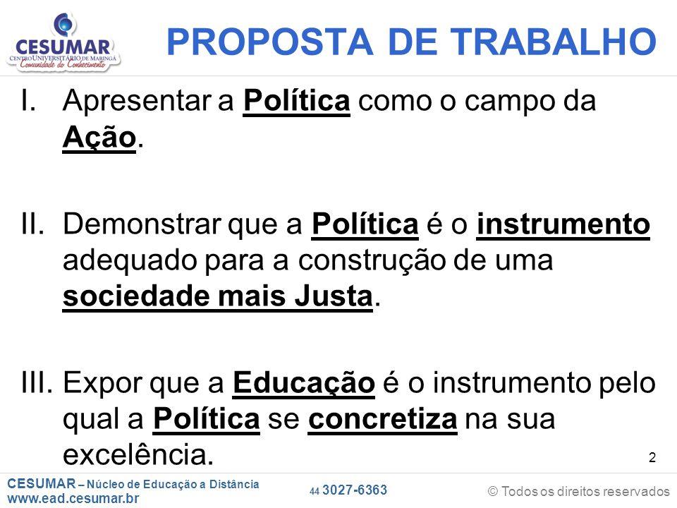 CESUMAR – Núcleo de Educação a Distância www.ead.cesumar.br © Todos os direitos reservados 44 3027-6363 2 PROPOSTA DE TRABALHO I.Apresentar a Política