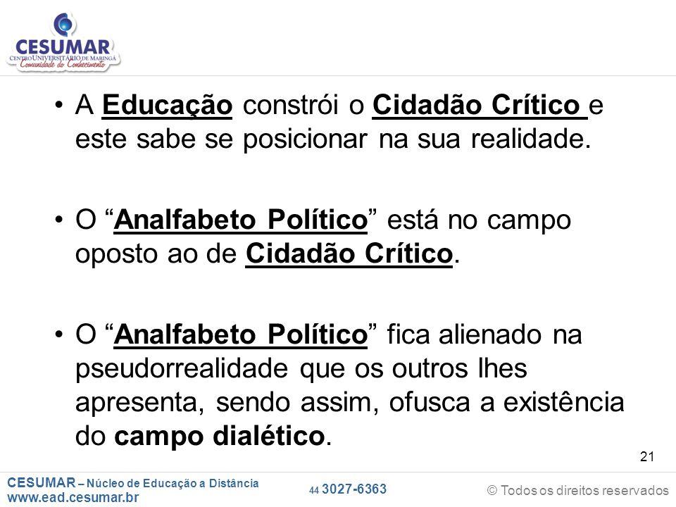 CESUMAR – Núcleo de Educação a Distância www.ead.cesumar.br © Todos os direitos reservados 44 3027-6363 21 A Educação constrói o Cidadão Crítico e est